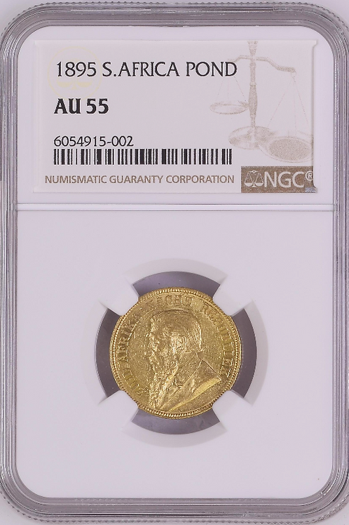 S. Africa: 1895 ZAR Gold Pond NGC Certified AU55