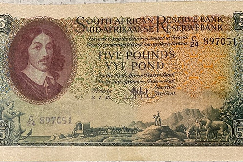 S. Africa (Reserve Bank): 1953 MH de Kock 5 Pounds 3rd Issue