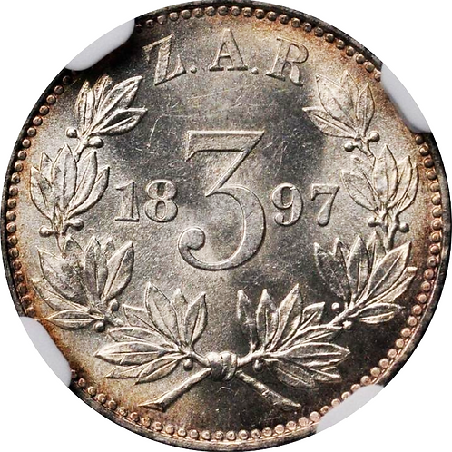 S. Africa: 1897 ZAR 3D (Threepence) NGC Certified MS63