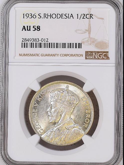 S. Rhodesia: 1936 2.5 Shillings (Halfcrown) NGC Certified AU58
