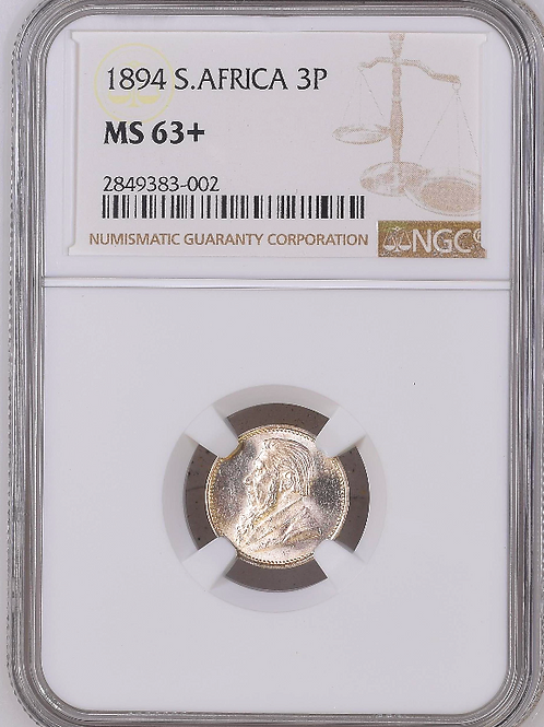 S. Africa: 1894 ZAR 3D (Threepence) NGC Certified MS63+