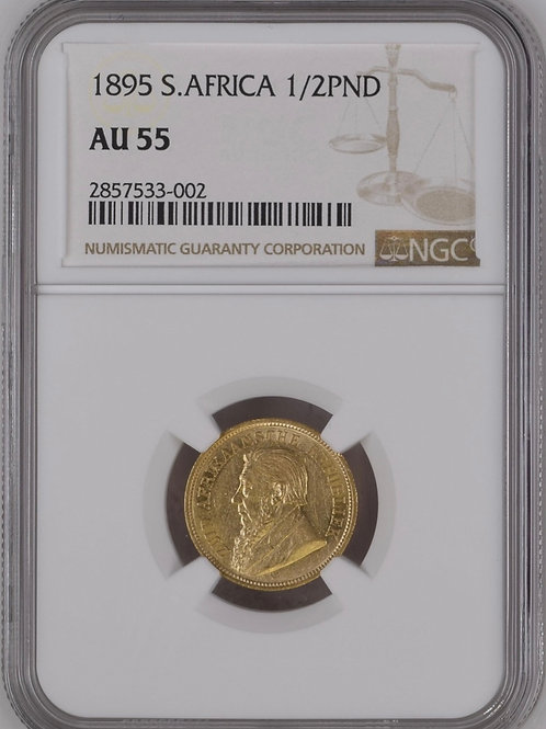 S. Africa: 1895 ZAR Gold 1/2 Pond NGC Certified AU55