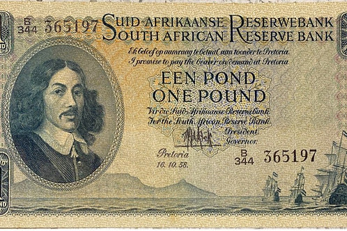 S. Africa (Reserve Bank): 1958 MH de Kock 1 Pound 3rd Issue