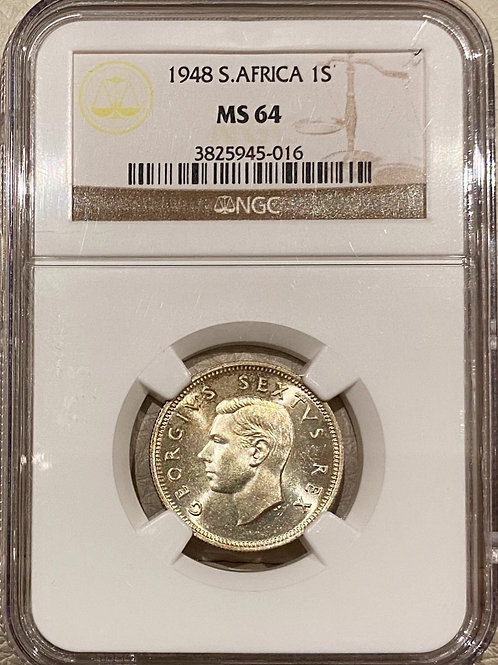 S. Africa: 1948 KGVI 1 Shilling NGC Certified MS64