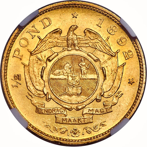 S. Africa: 1892 ZAR 1/2 Pond D/S NGC Certified MS61