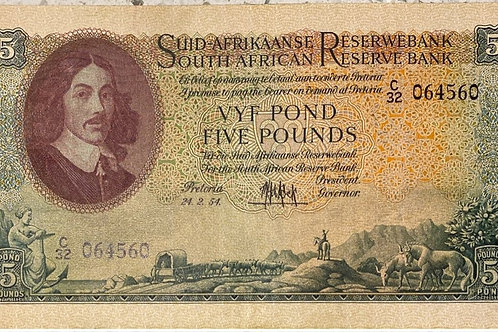 S. Africa (Reserve Bank): 1954 MH de Kock 5 Pounds 3rd Issue
