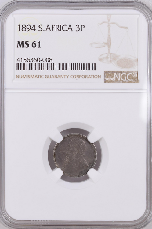 S. Africa: 1894 ZAR 3D (Threepence) NGC Certified MS61