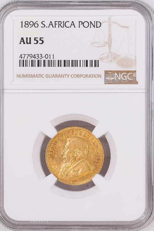 S. Africa: 1896 ZAR Gold Pond NGC Certified AU55