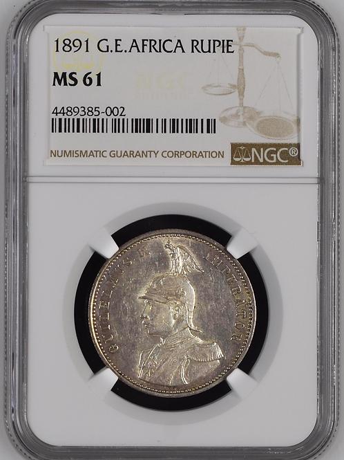 German East Africa: 1891 One Rupie NGC Certified MS61