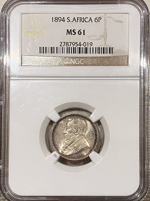 S. Africa: 1894 ZAR 6D (Sixpence) NGC Certified MS61