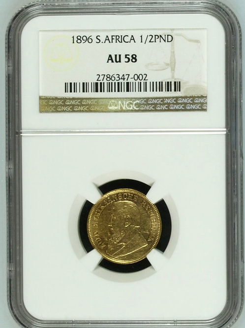 S. Africa: 1896 ZAR Gold 1/2 Pond NGC Certified AU58