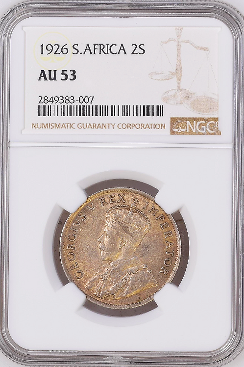 S. Africa: 1926 KGV Florin (2S) NGC Certified AU53