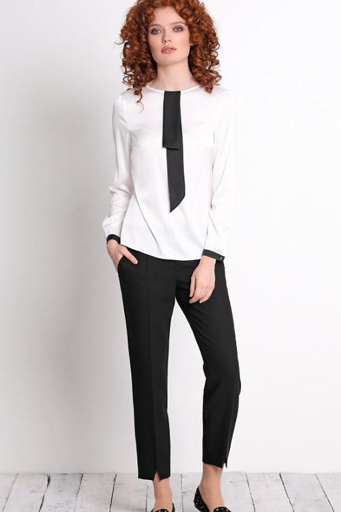 Блузка белая черный галстук