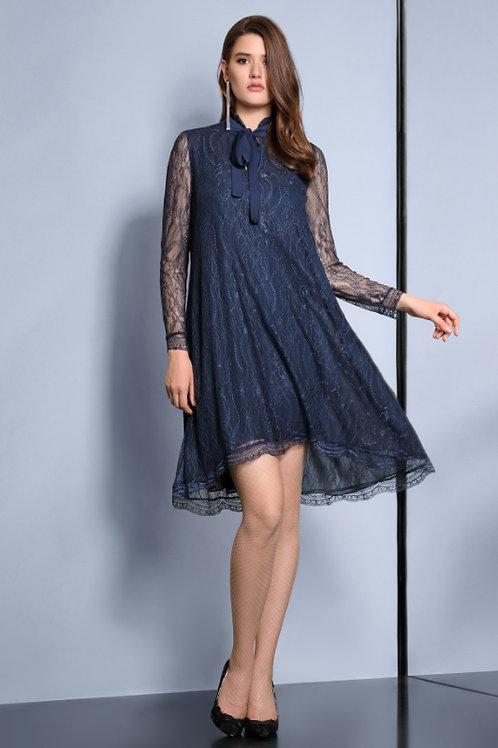 Платье синее бант
