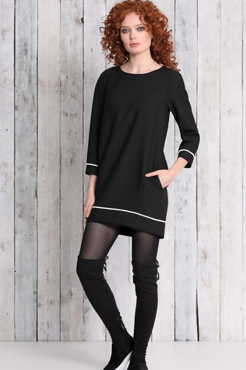 Платье черное бел отделка