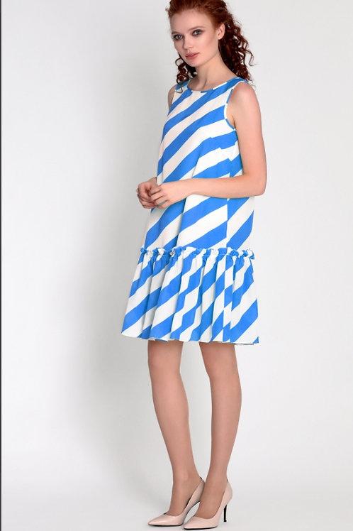Платье полоска волан