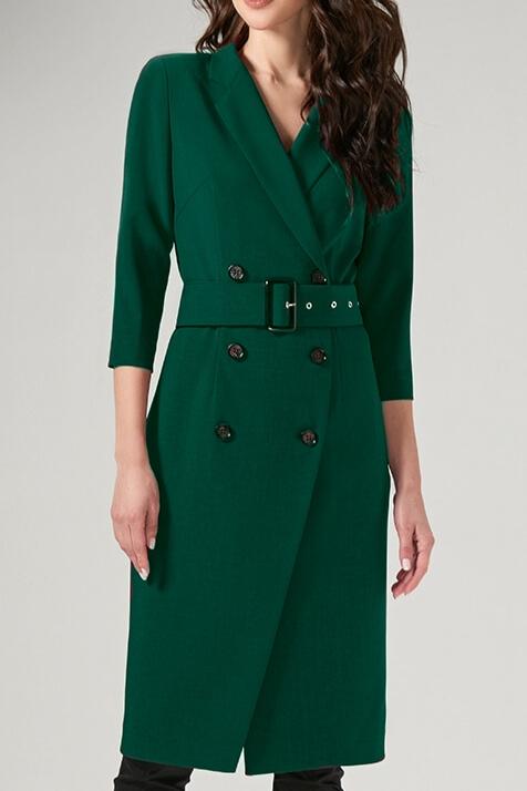 """Платье  длина по спинке - 104 см, цвет: темно-зеленый -полуприлегающего силуэта, на запах, застегивающиеся на петли и пуговицы;  -воротник пиджачного типа с отложными лацканами;  -рукав втачной ¾;  -перед платья с нагрудными и талиевыми вытачками;  -спинка с талиевыми вытачками и средним швом;  -в боковых швах обработаны карманы;  -дополнением служит пояс, застегивающийся на пряжку. Размеры:44-52 ТЦ """"Европейский"""" 2 этаж отд. """"Миледи-Nelva"""""""