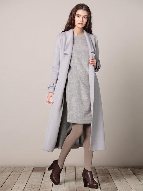 Пальто женское серое длинное