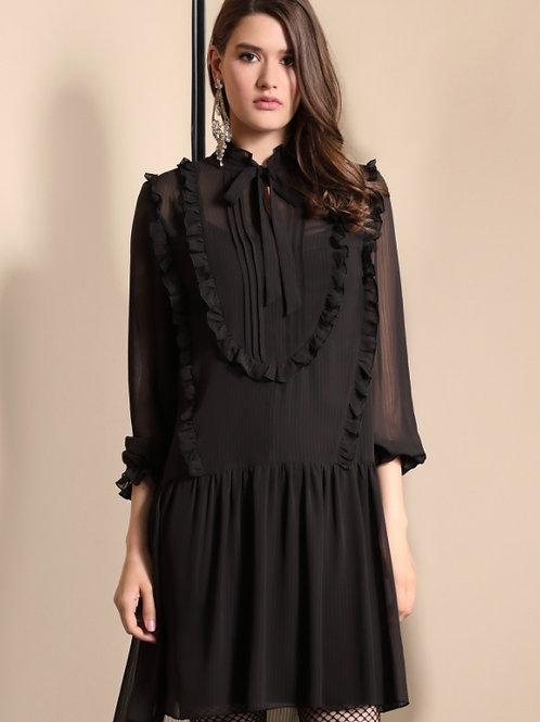 Платье черное волан