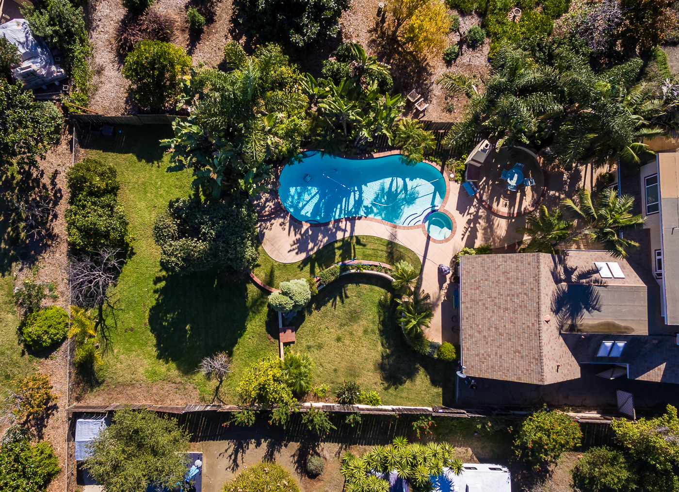 Aerial View of Pool & Yard
