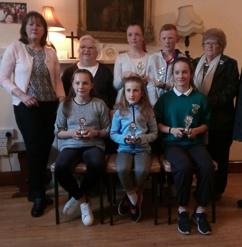 Ava Palasz (seated, first left) of Fifth Class won a special merit award for a superb essay she wrote for the Pioneer Total Abstinence Association's annual writing competition. We are all very proud of Ava on her great achievement.
