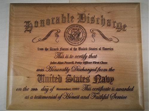Wooden Discharge Certificate