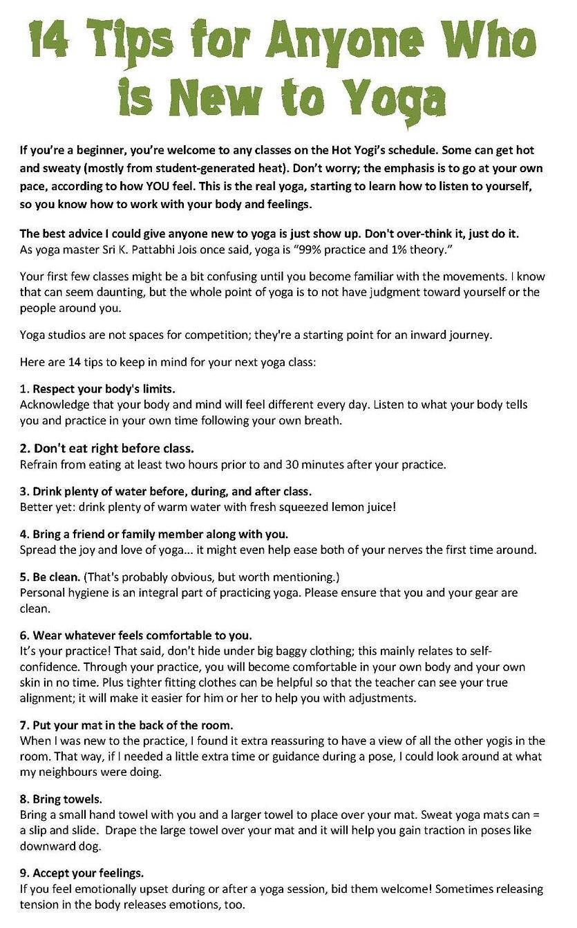 14 tips for new Yogi's