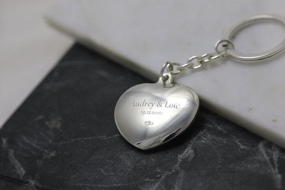Porte clés coeur bombé
