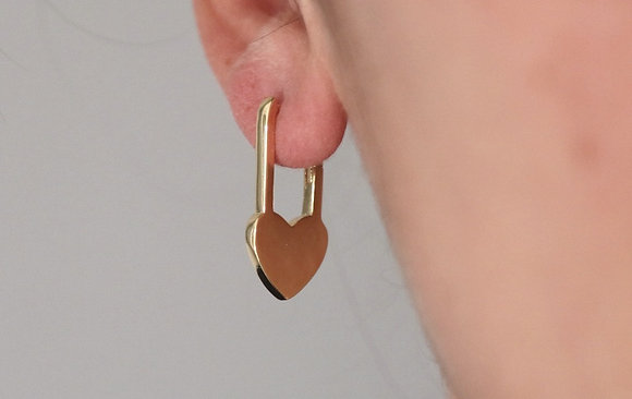 Boucles d'oreilles cadenas coeur