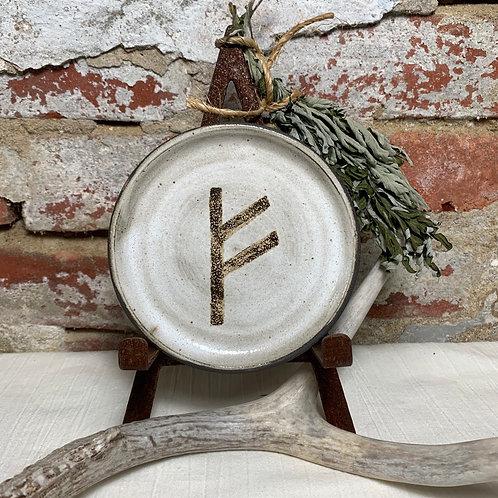Fehu Elder Futhark Rune Plate