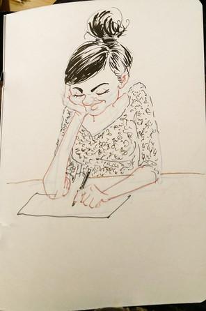 Drink & Draw Birmingham - Girl sketching