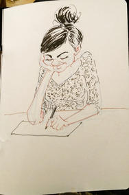 Birmingham Drink and Draw - girl sketching
