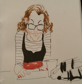 Birmingham Drink and Draw - girl with drink sketching