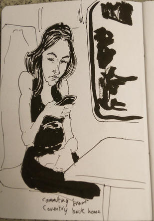PeopleSketching - Woman on a train