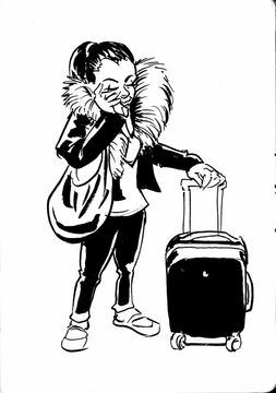Lady on phone with suitcase.jpg