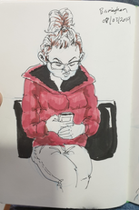 Lady on her mobile while in waiting lounge of airport