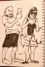 Tourists with phones