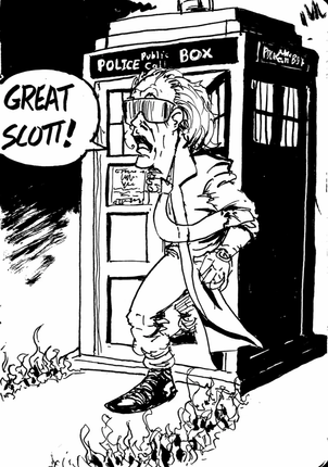 Doctor Emmet Brown with the TARDIS