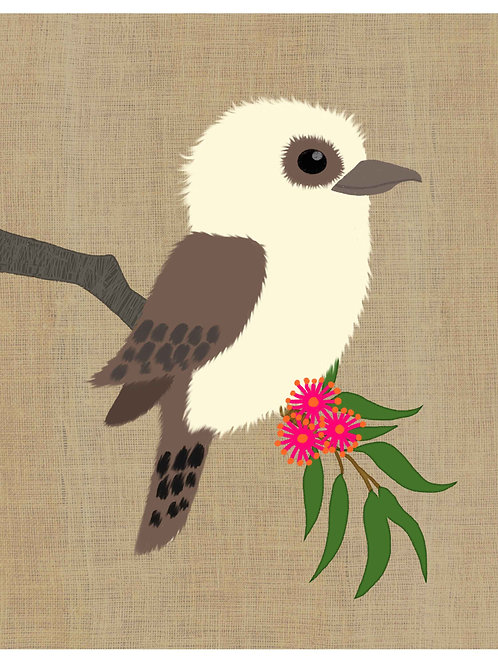 Kookaburra on hessian background