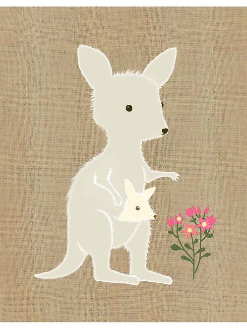 Kangaroo on Joey on hessian background