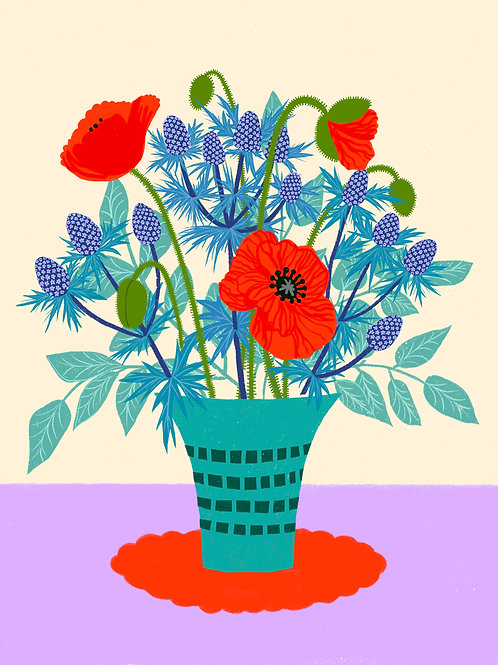 Eryngium and Poppies in a turquoise Vase