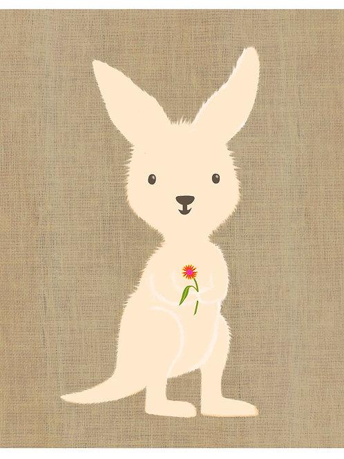 Kangaroo on hessian background