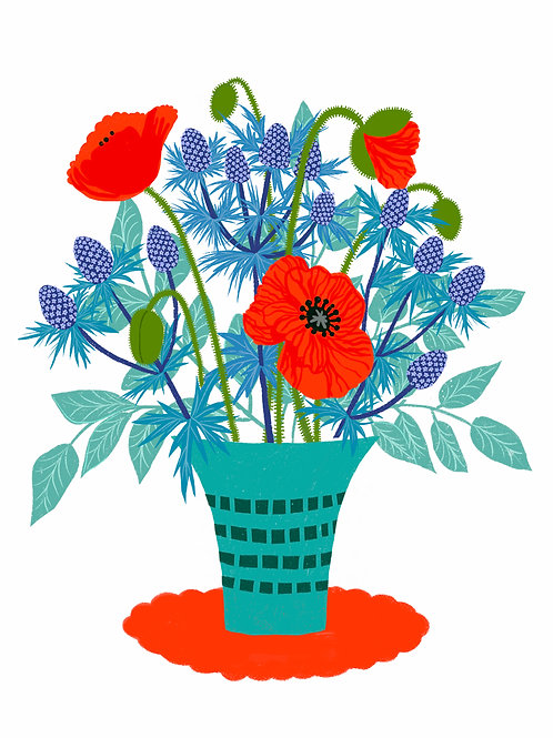 Eryngium and Poppies in a turquoise Vase on white