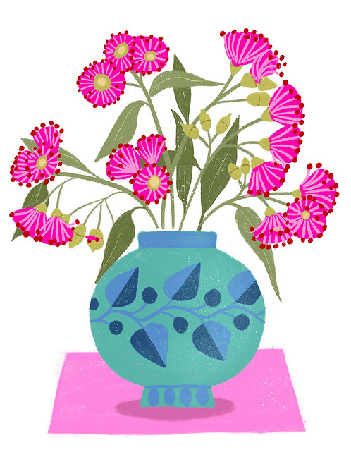 Eucalyptus Flowers in a Turquoise Vase on White