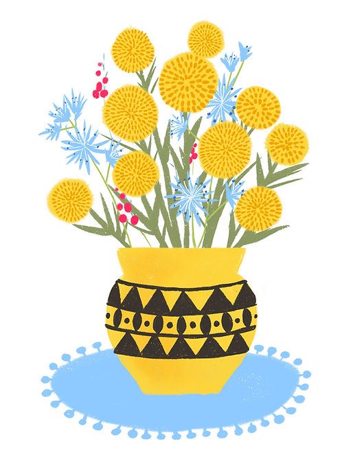 Billy Buttons in a Yellow Vase on White
