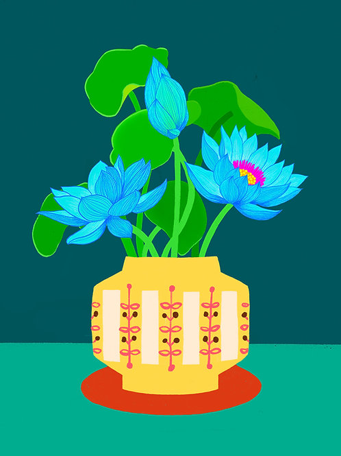 Blue Water Lily in a Yellow Vase