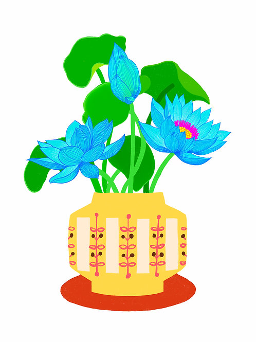 Blue Water Lily in a Yellow Vase on white