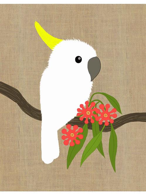 Cockatoo on hessian background