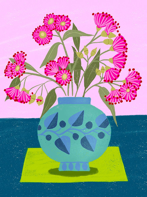 Eucalyptus Flowers in a Turquoise Vase