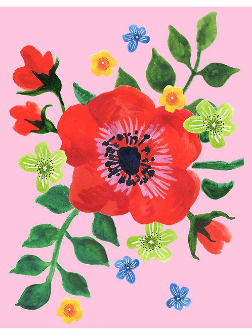Big Red Flower on Pink